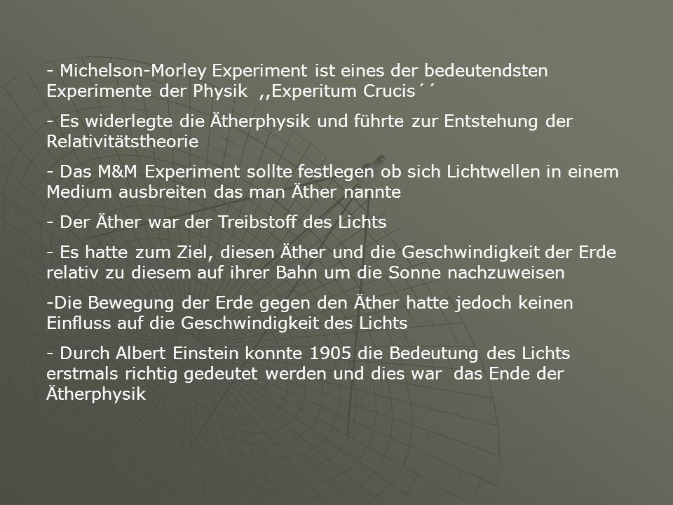 - Michelson-Morley Experiment ist eines der bedeutendsten Experimente der Physik ,,Experitum Crucis´´