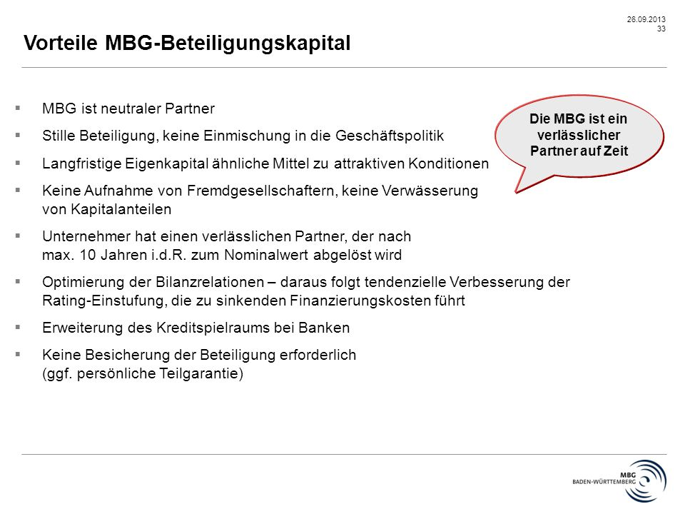 Die MBG ist ein verlässlicher Partner auf Zeit