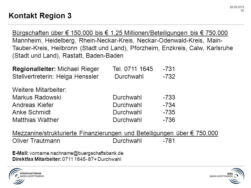 Kontakt Region 3 Bürgschaften über € 150.000 bis € 1,25 Millionen/Beteiligungen bis € 750.000.
