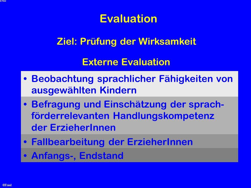 Evaluation Ziel: Prüfung der Wirksamkeit Externe Evaluation