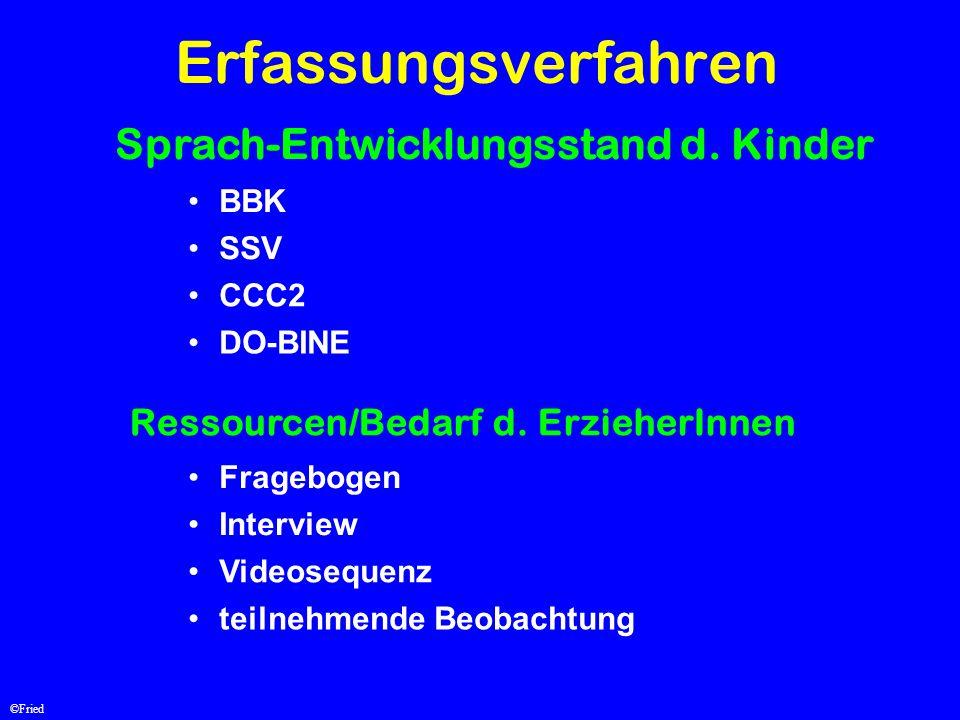 Erfassungsverfahren Sprach-Entwicklungsstand d. Kinder