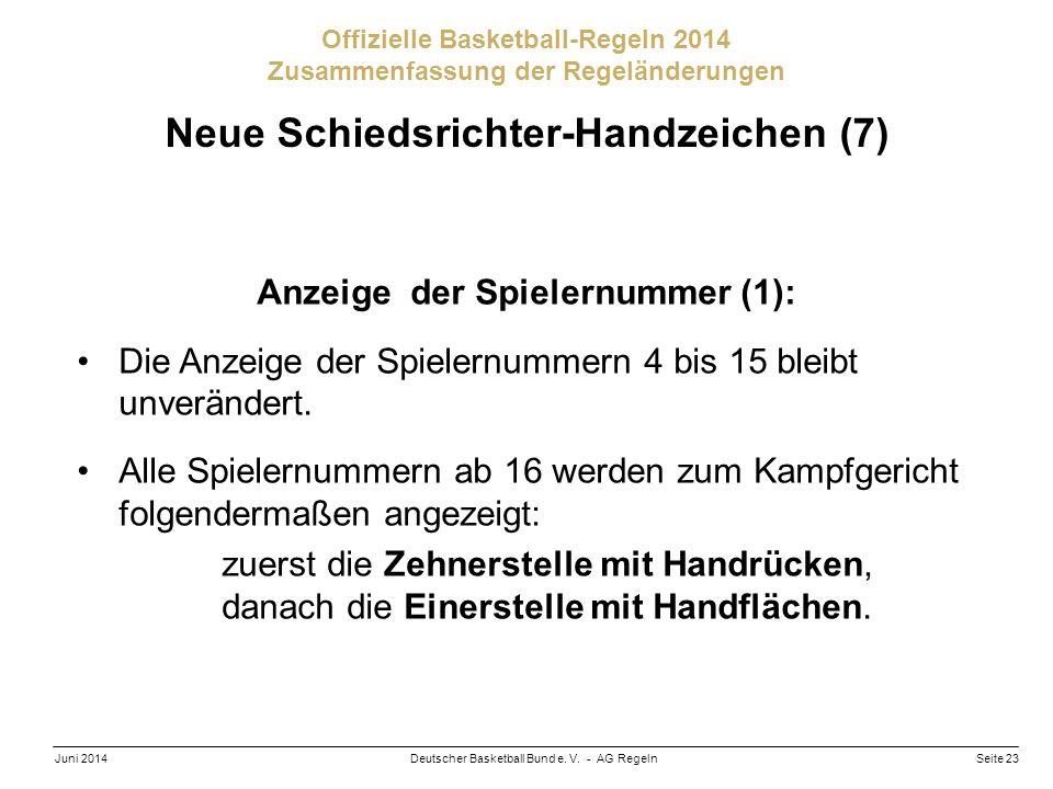 Neue Schiedsrichter-Handzeichen (7) Anzeige der Spielernummer (1):