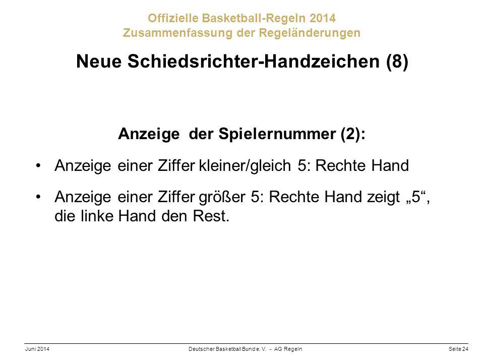 Neue Schiedsrichter-Handzeichen (8) Anzeige der Spielernummer (2):