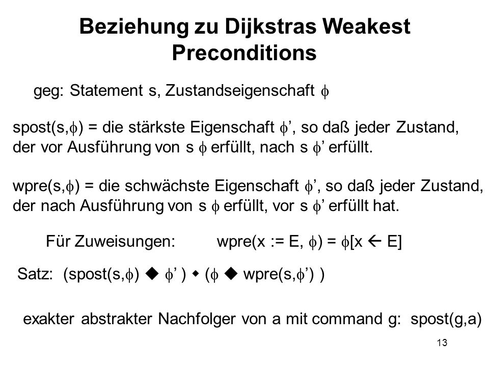 Beziehung zu Dijkstras Weakest Preconditions
