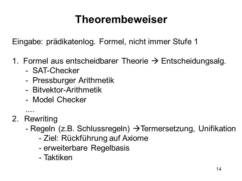 Theorembeweiser Eingabe: prädikatenlog. Formel, nicht immer Stufe 1