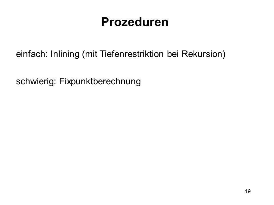Prozeduren einfach: Inlining (mit Tiefenrestriktion bei Rekursion)