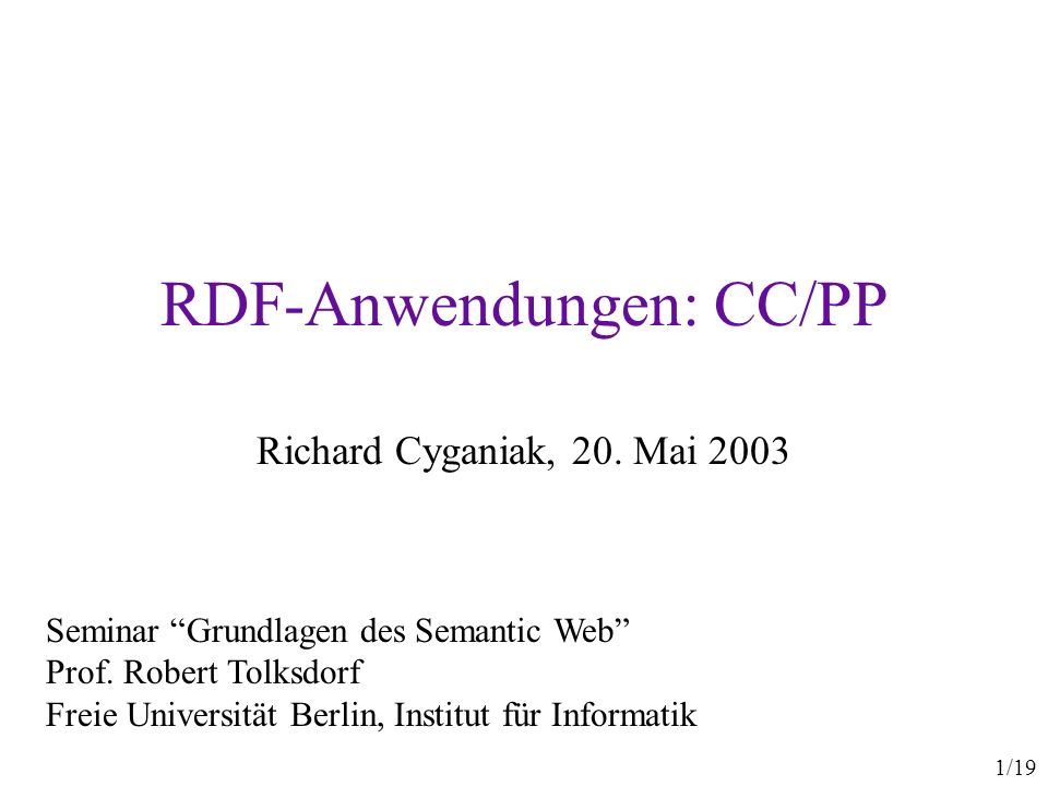 RDF-Anwendungen: CC/PP