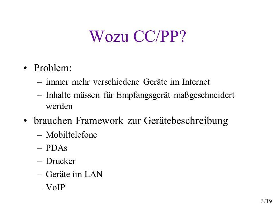 Wozu CC/PP Problem: brauchen Framework zur Gerätebeschreibung