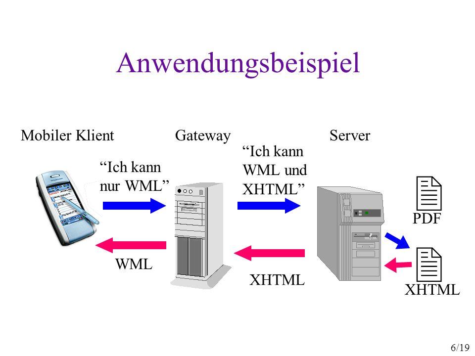  Anwendungsbeispiel Mobiler Klient Gateway Server Ich kann WML und