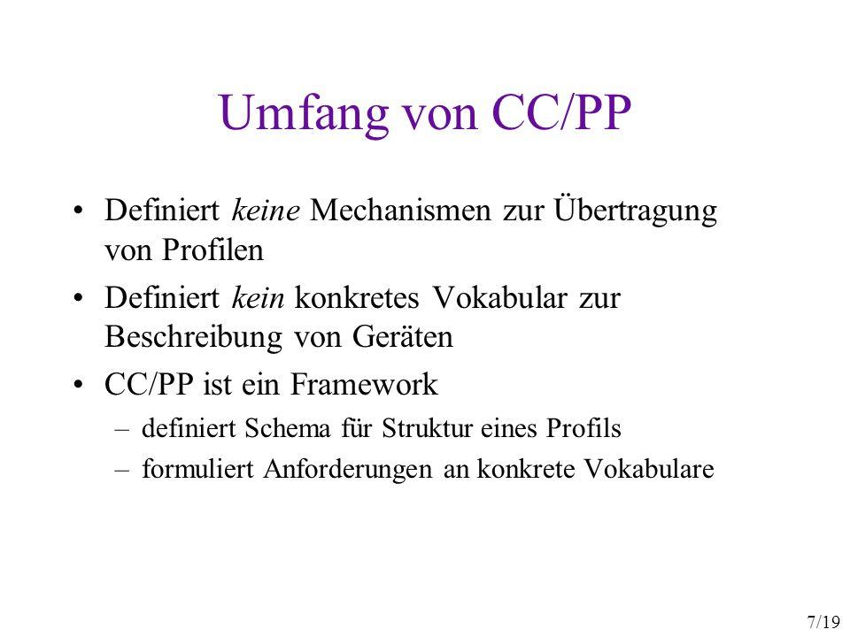 Umfang von CC/PP Definiert keine Mechanismen zur Übertragung von Profilen. Definiert kein konkretes Vokabular zur Beschreibung von Geräten.
