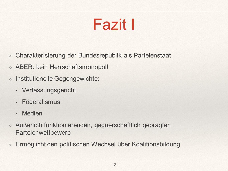 Fazit I Charakterisierung der Bundesrepublik als Parteienstaat