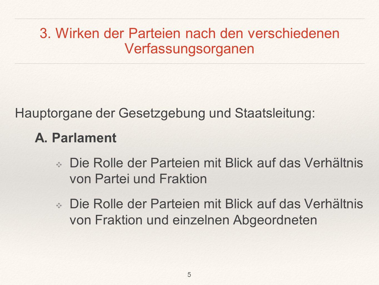 3. Wirken der Parteien nach den verschiedenen Verfassungsorganen