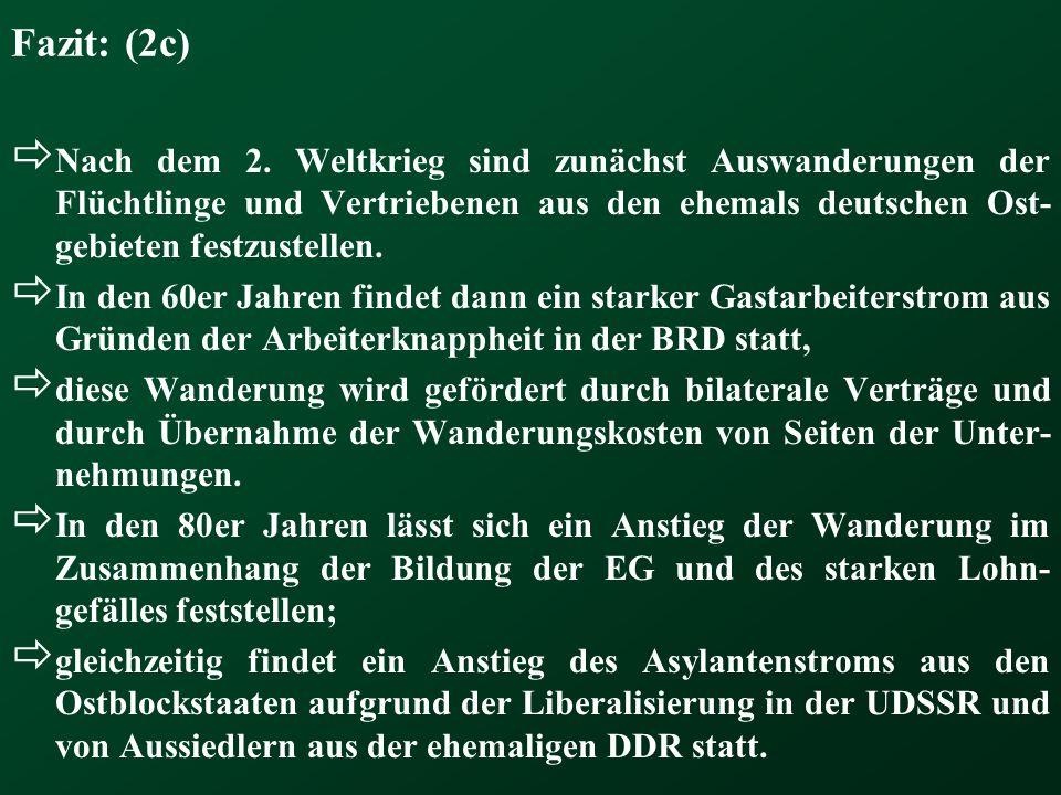 Fazit: (2c) Nach dem 2. Weltkrieg sind zunächst Auswanderungen der Flüchtlinge und Vertriebenen aus den ehemals deutschen Ost-gebieten festzustellen.