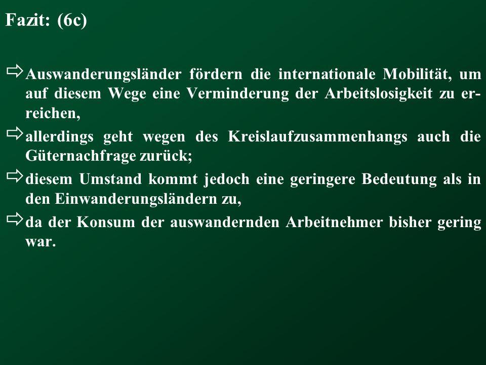 Fazit: (6c) Auswanderungsländer fördern die internationale Mobilität, um auf diesem Wege eine Verminderung der Arbeitslosigkeit zu er-reichen,