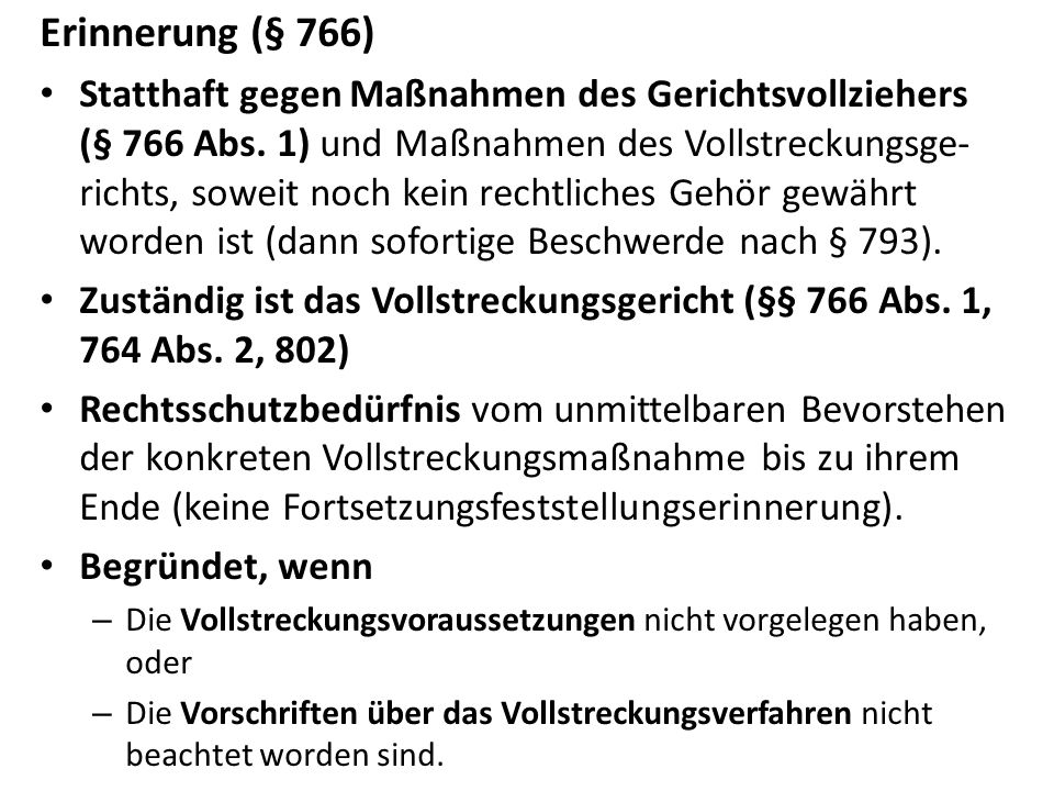 Erinnerung (§ 766)