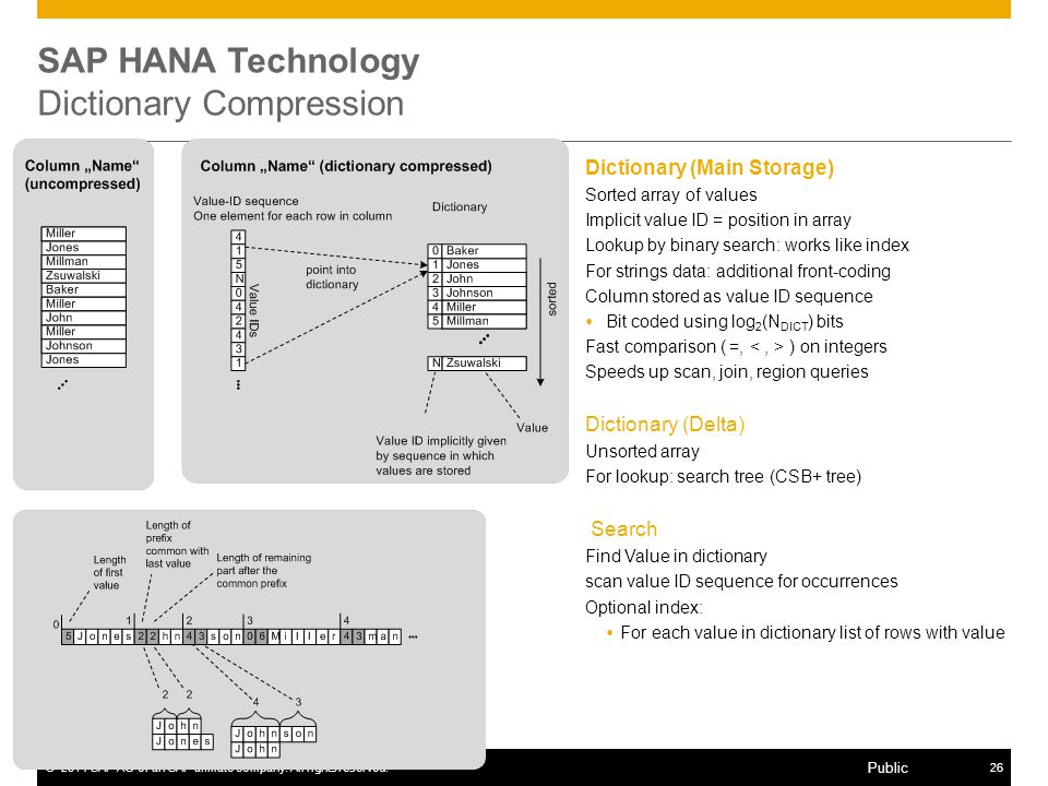 SAP HANA Technology Dictionary Compression