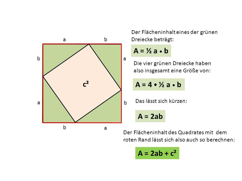 A = ½ a • b c² c² A = 4 • ½ a • b A = 2ab A = 2ab + c²