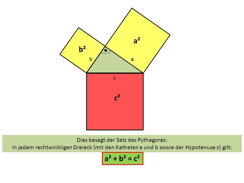 Dies besagt der Satz des Pythagoras: