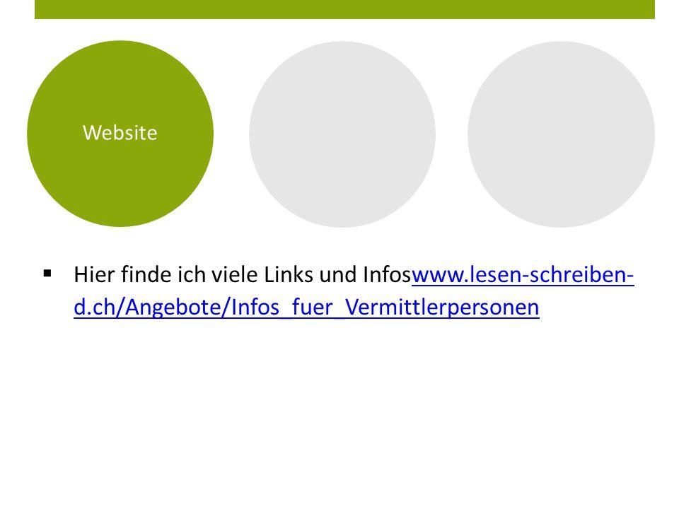 Website Hier finde ich viele Links und Infoswww.lesen-schreiben- d.ch/Angebote/Infos_fuer_Vermittlerpersonen.