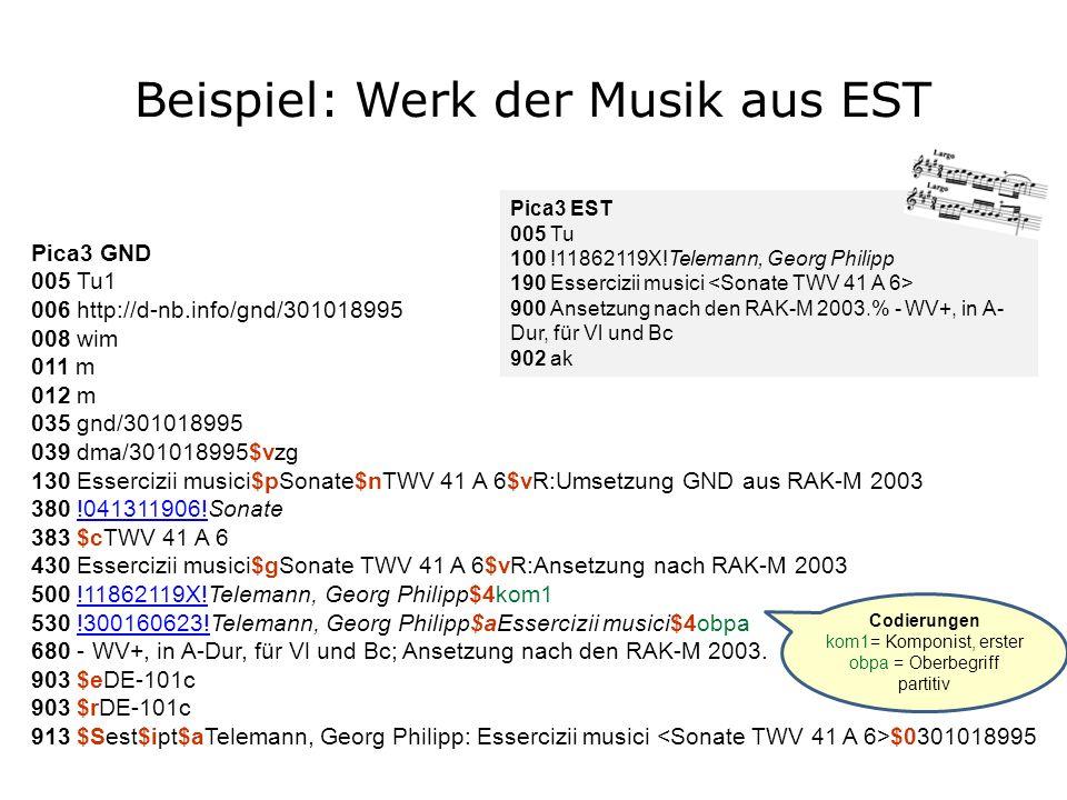 Beispiel: Werk der Musik aus EST