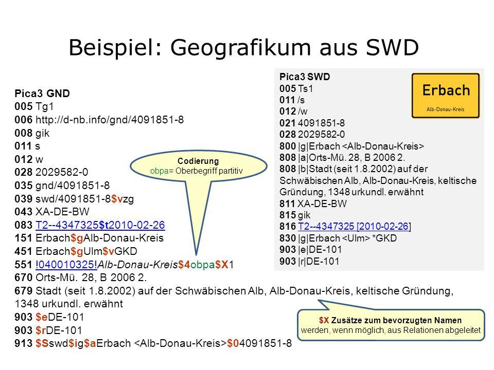 Beispiel: Geografikum aus SWD