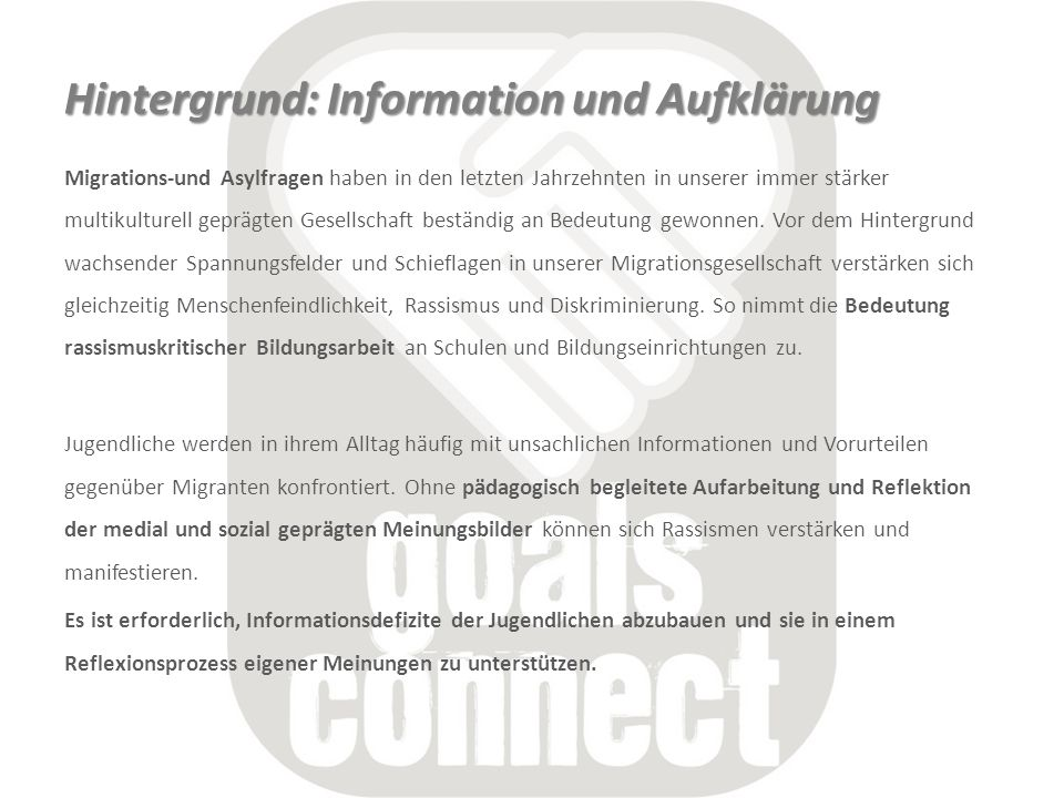 Hintergrund: Information und Aufklärung