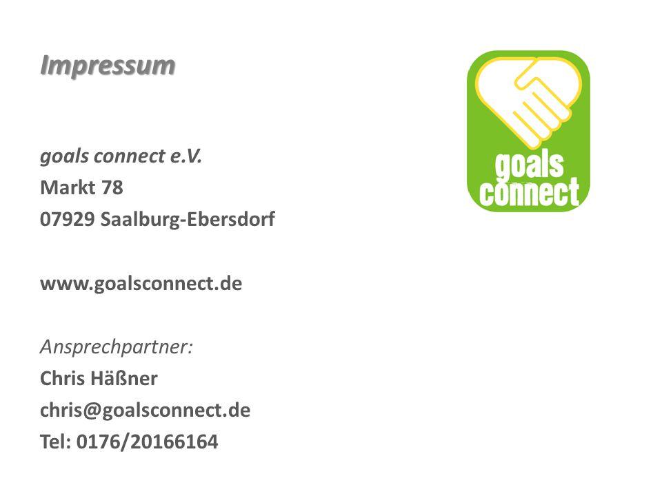 Impressum goals connect e.V. Markt 78 07929 Saalburg-Ebersdorf