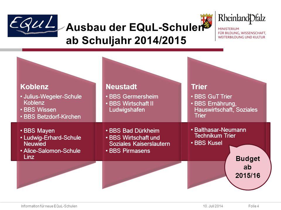 Ausbau der EQuL-Schulen ab Schuljahr 2014/2015