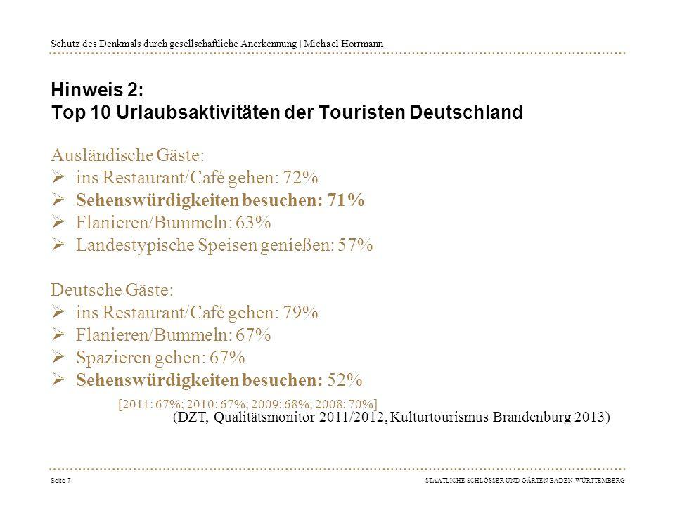 Hinweis 2: Top 10 Urlaubsaktivitäten der Touristen Deutschland
