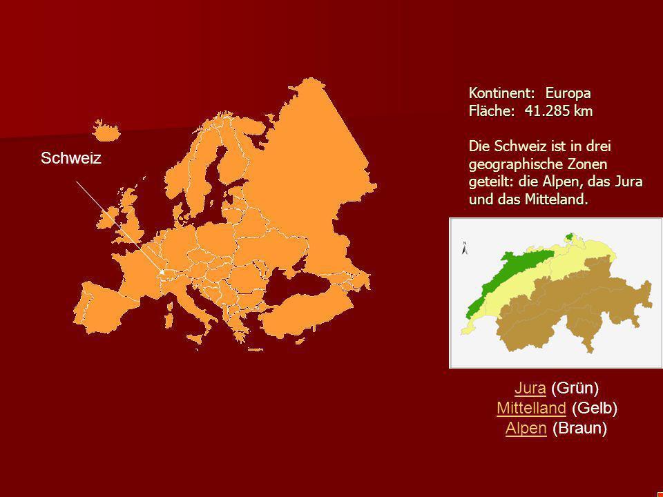 Schweiz Jura (Grün) Mittelland (Gelb) Alpen (Braun)