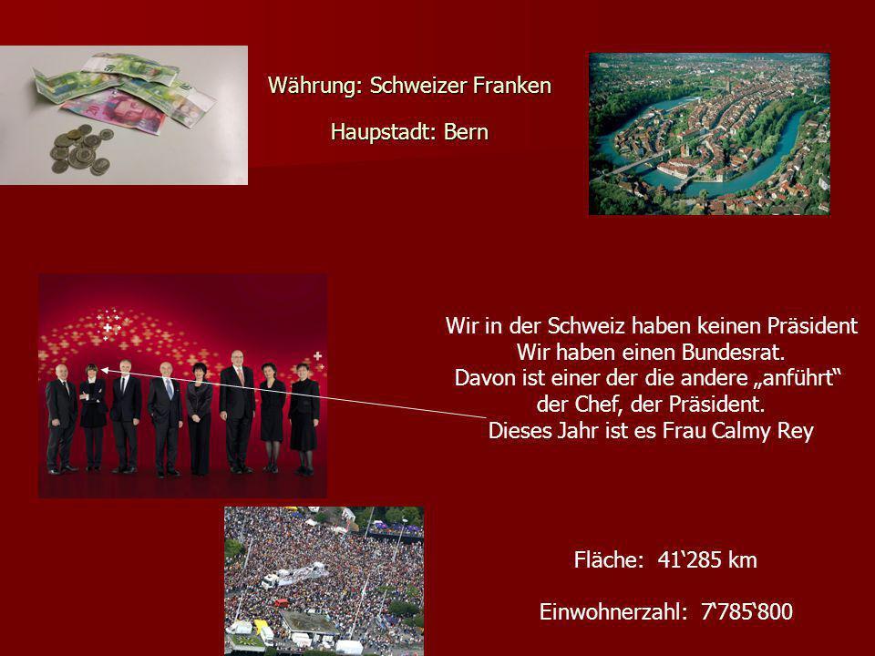 Währung: Schweizer Franken Haupstadt: Bern