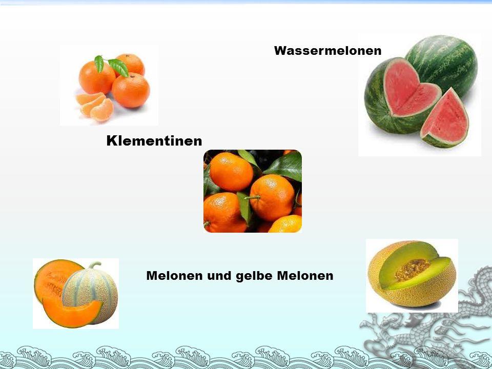 Wassermelonen Klementinen Melonen und gelbe Melonen