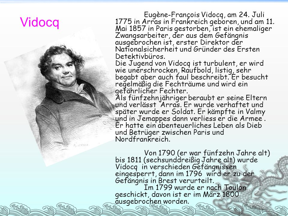 Eugène-François Vidocq, am 24