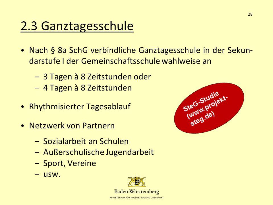2.3 Ganztagesschule 28. Nach § 8a SchG verbindliche Ganztagesschule in der Sekun-darstufe I der Gemeinschaftsschule wahlweise an.