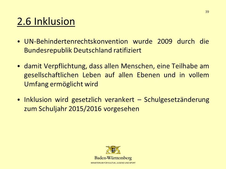 2.6 Inklusion 39. UN-Behindertenrechtskonvention wurde 2009 durch die Bundesrepublik Deutschland ratifiziert.