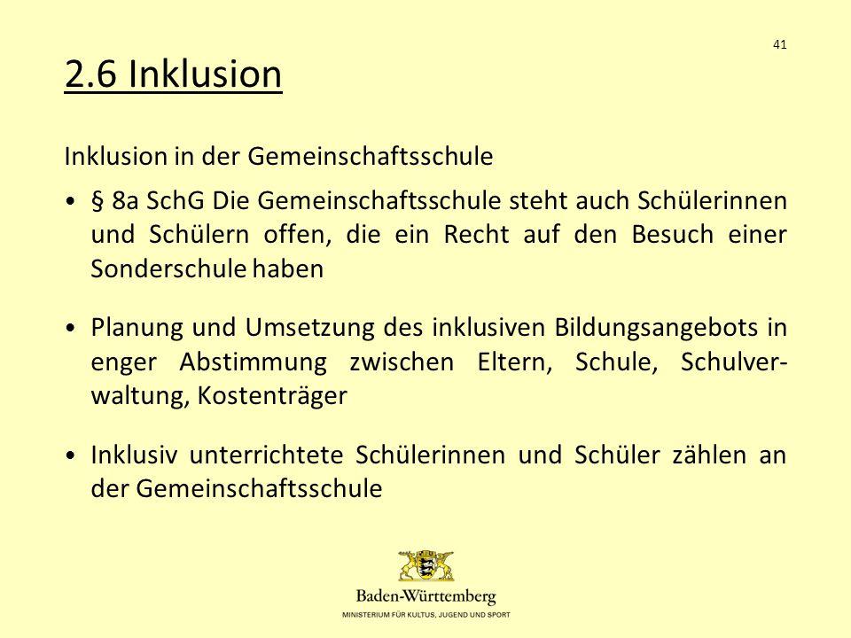 2.6 Inklusion Inklusion in der Gemeinschaftsschule