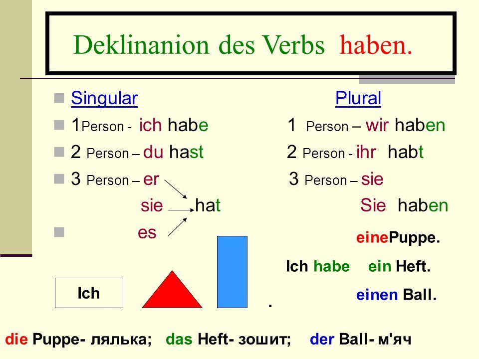 Deklinanion des Verbs haben.