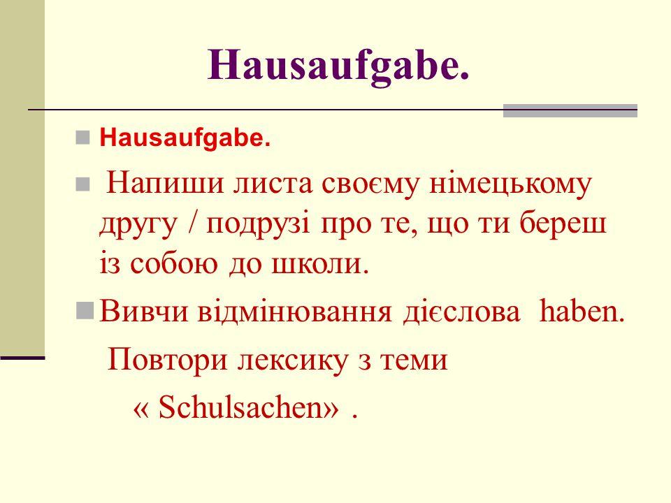 Hausaufgabe. Вивчи відмінювання дієслова haben. Повтори лексику з теми