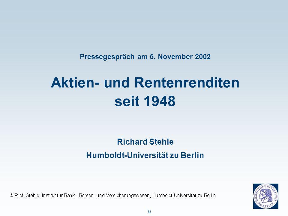 Entwicklung des DAX und des REXP seit 1948 nominal, normale Darstellung, 31.12.1947 = 100