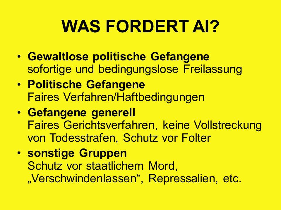WAS FORDERT AI Gewaltlose politische Gefangene sofortige und bedingungslose Freilassung. Politische Gefangene Faires Verfahren/Haftbedingungen.
