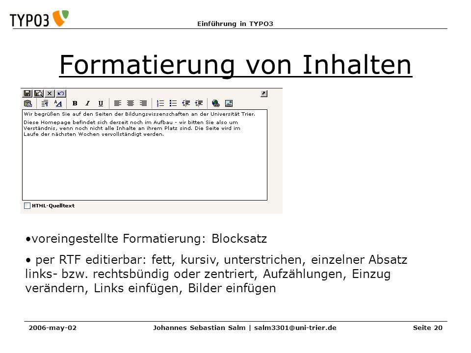 Formatierung von Inhalten