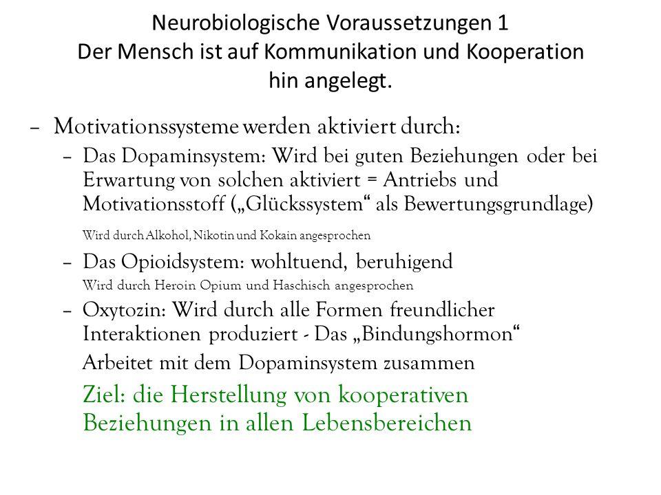Neurobiologische Voraussetzungen 1 Der Mensch ist auf Kommunikation und Kooperation hin angelegt.