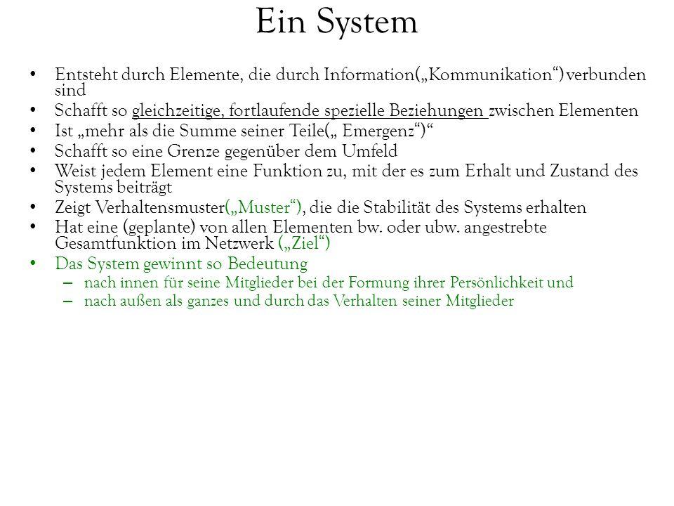 """Ein System Entsteht durch Elemente, die durch Information(""""Kommunikation ) verbunden sind."""