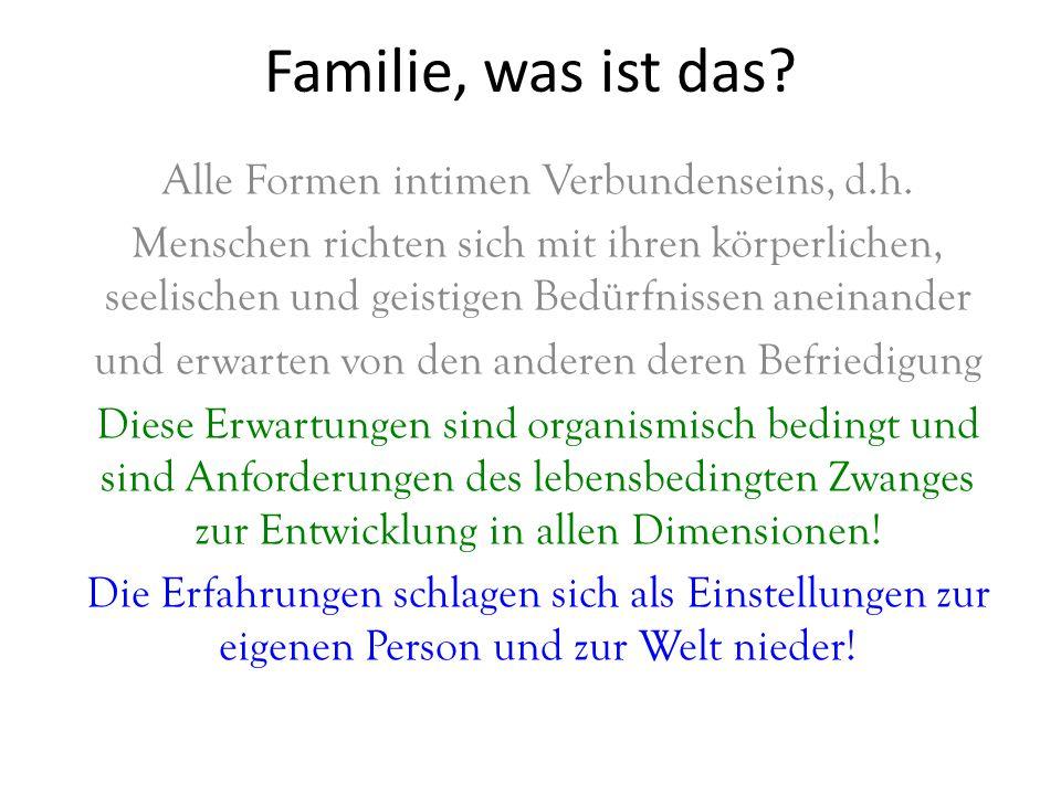 Familie, was ist das Alle Formen intimen Verbundenseins, d.h.