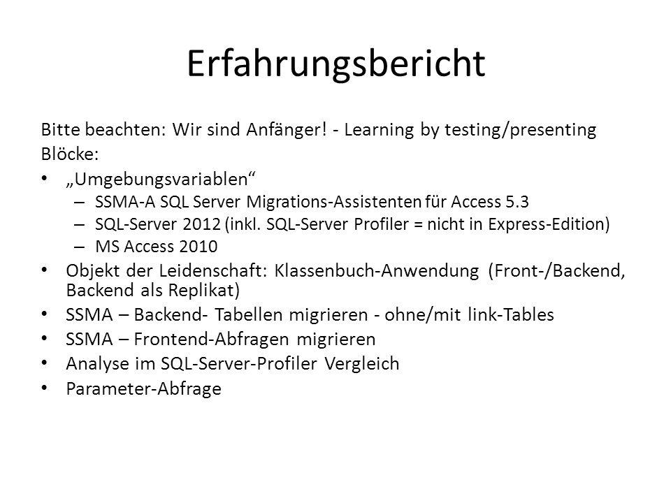"Erfahrungsbericht Bitte beachten: Wir sind Anfänger! - Learning by testing/presenting. Blöcke: ""Umgebungsvariablen"