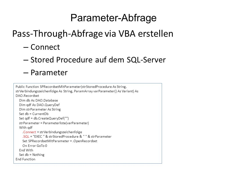 Pass-Through-Abfrage via VBA erstellen