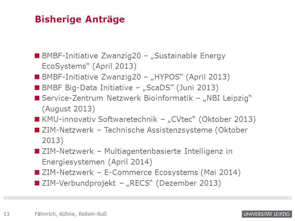 "Bisherige Anträge BMBF-Initiative Zwanzig20 – ""Sustainable Energy EcoSystems (April 2013) BMBF-Initiative Zwanzig20 – ""HYPOS (April 2013)"