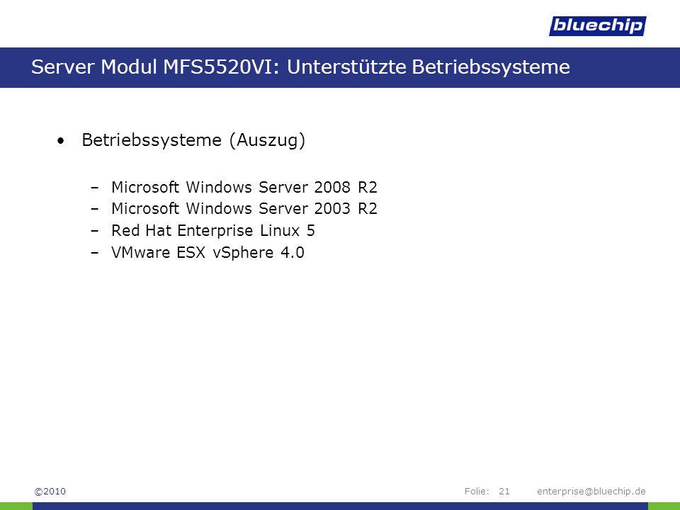 Server Modul MFS5520VI: Unterstützte Betriebssysteme
