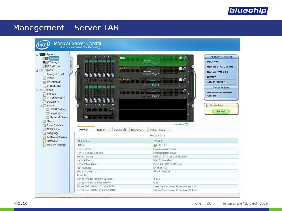 Management – Server TAB