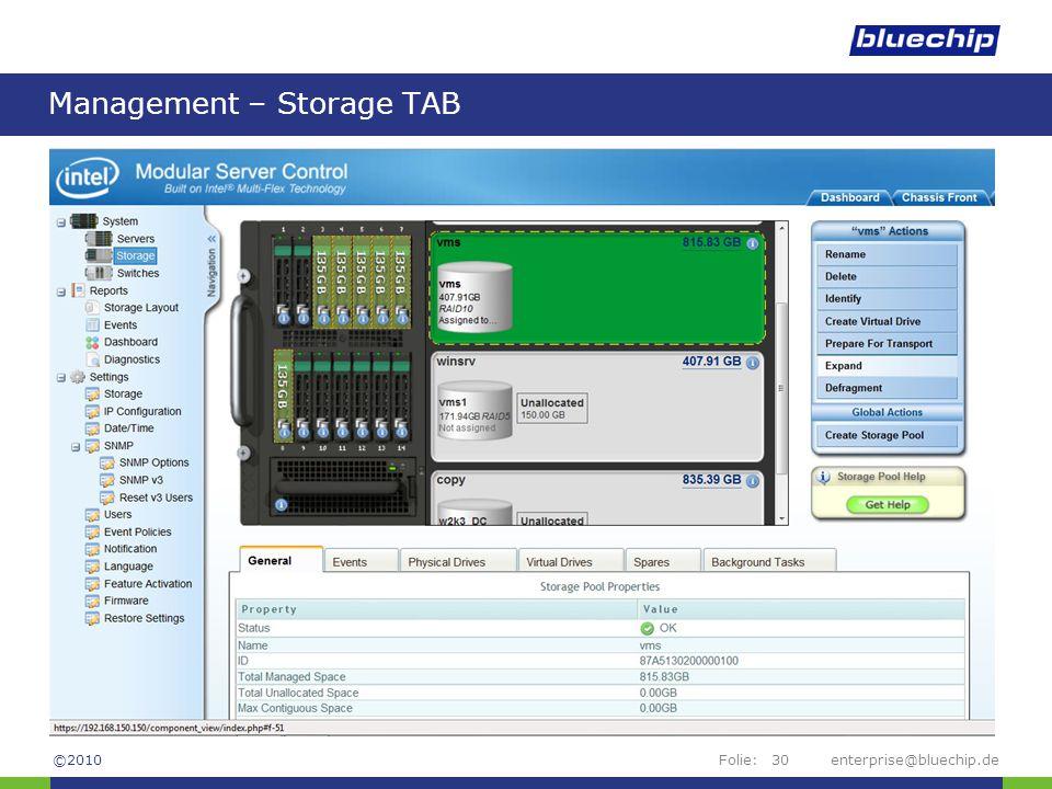 Management – Storage TAB